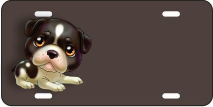 Black and White Cartoon Puppy Dog Tag-0