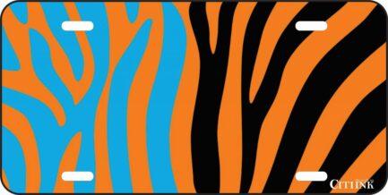 Blue and Orange Zebra Print -0