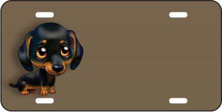 airbrush Brown and Black Cartoon Puppy Dog Tag-0