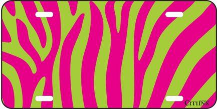 Pink and Green Zebra Print -0