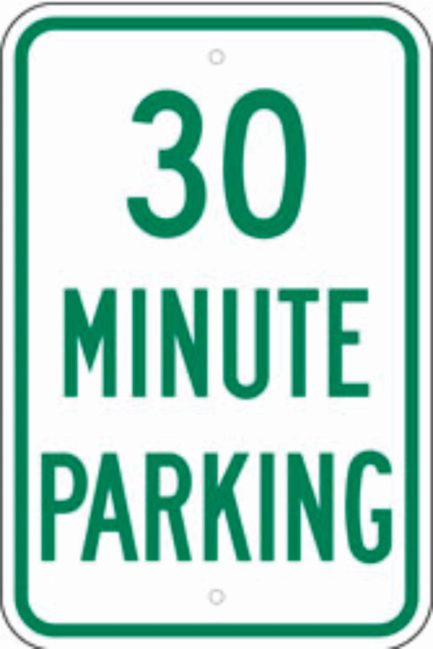 30 Minute Parking Metal Sign 12x18-0