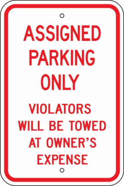 Assigned Parking Only #1 Metal Sign 12x18-0