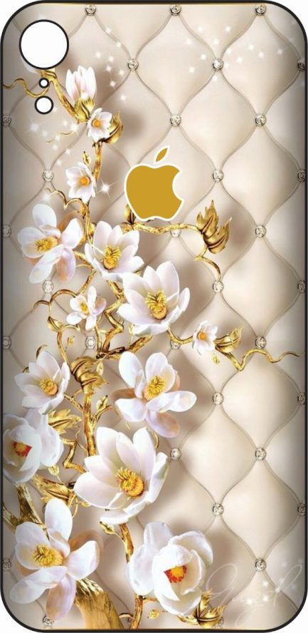 iPhone XR Leather and Flowers Design-0