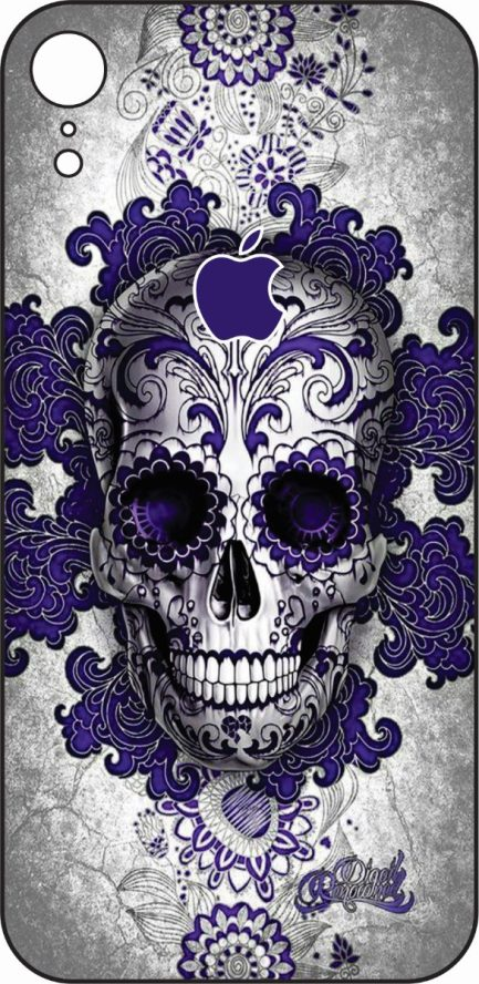 iPhone XR Purple Skull Design-0