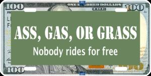 A**, Gas, or Grass Car Tag